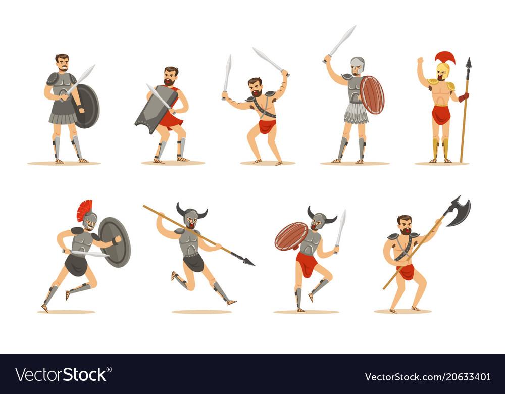 Gladiators of roman empire era in historical armor