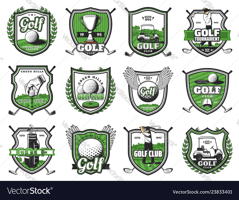 Golf club badges championship heraldic icons