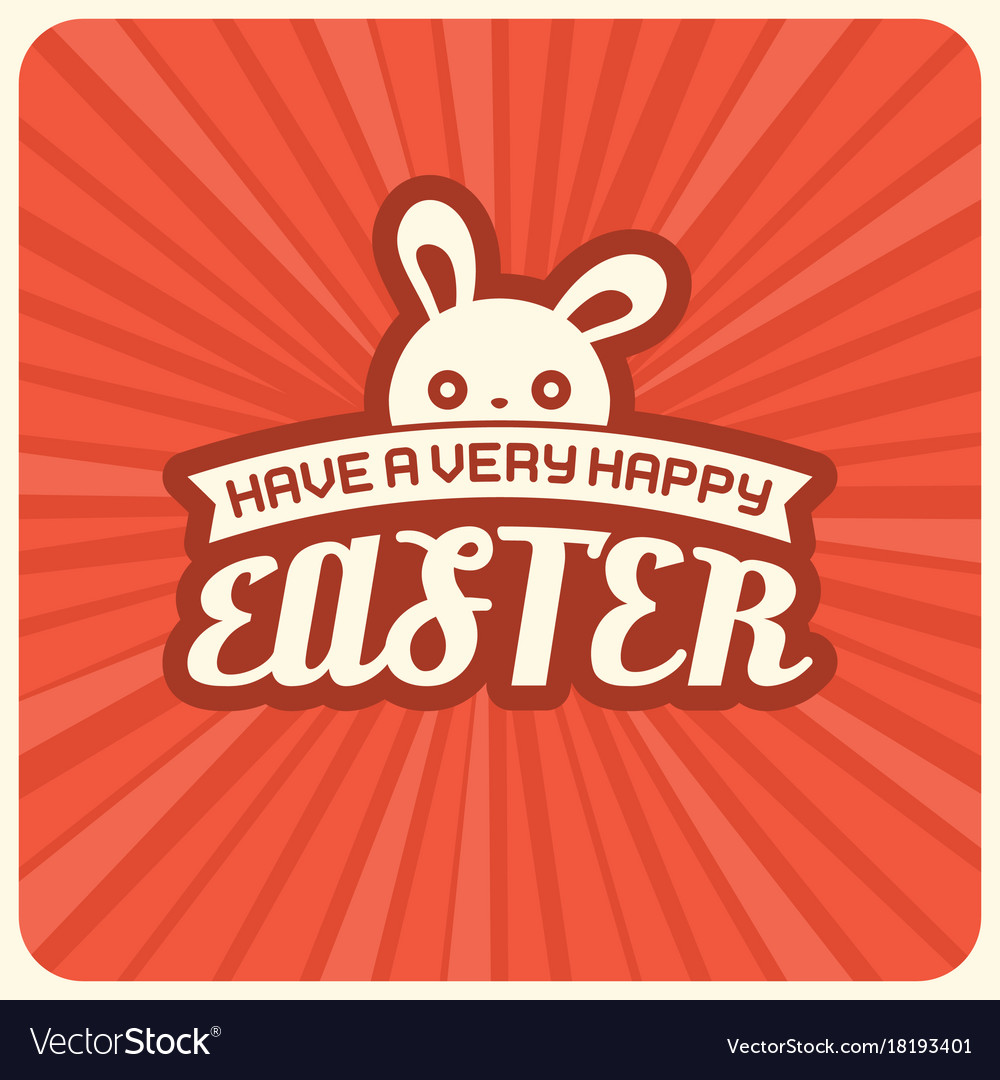 Have a very happy easter headline and rabbit