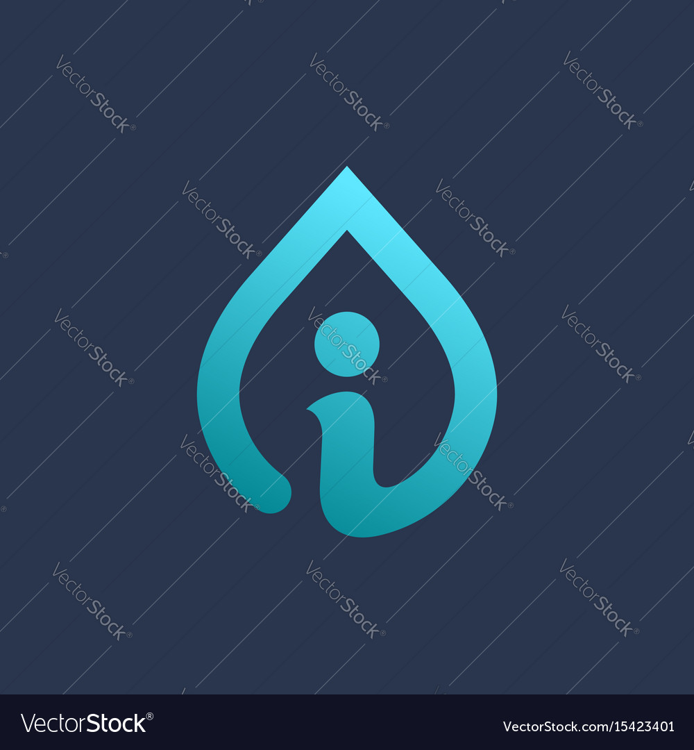 Letter i water drop logo icon design template