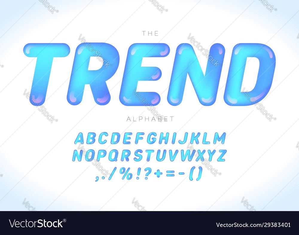 Modern trendy font design alphabet blue glossy