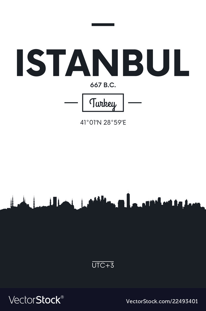 Poster city skyline istanbul flat style
