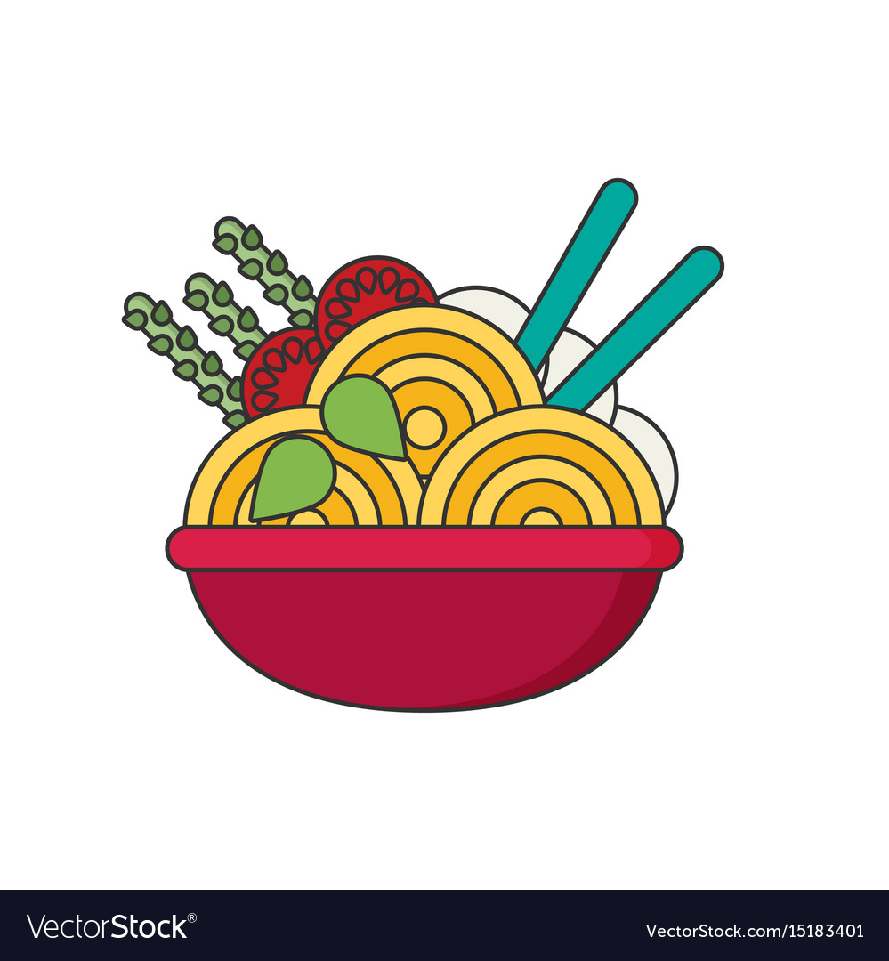 Ramen in color flat icon style