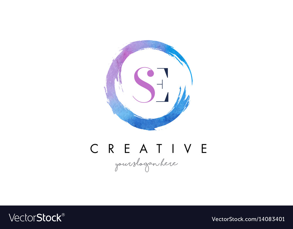 Se letter logo circular purple splash brush