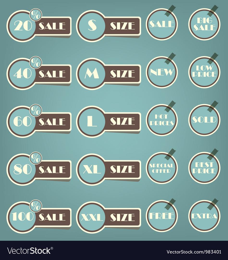 Set of sale labels retro