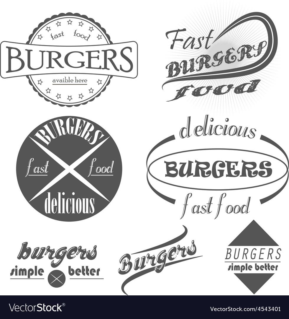 Set of vintage fast food restaurant signs panel