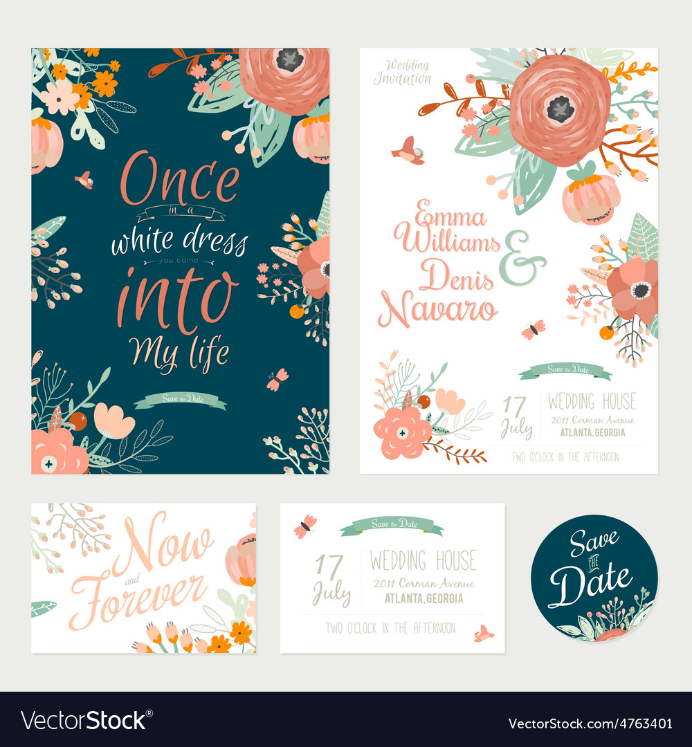 Vintage romantic floral save date invitation