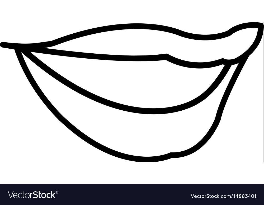 Woman lips sensual comic style outline