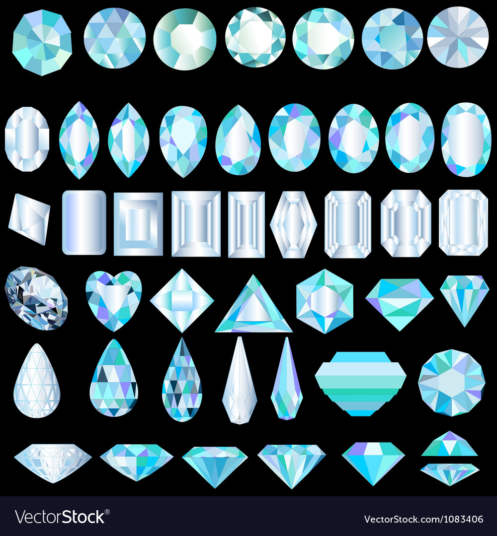 A set of light precious stones of different cut vector image