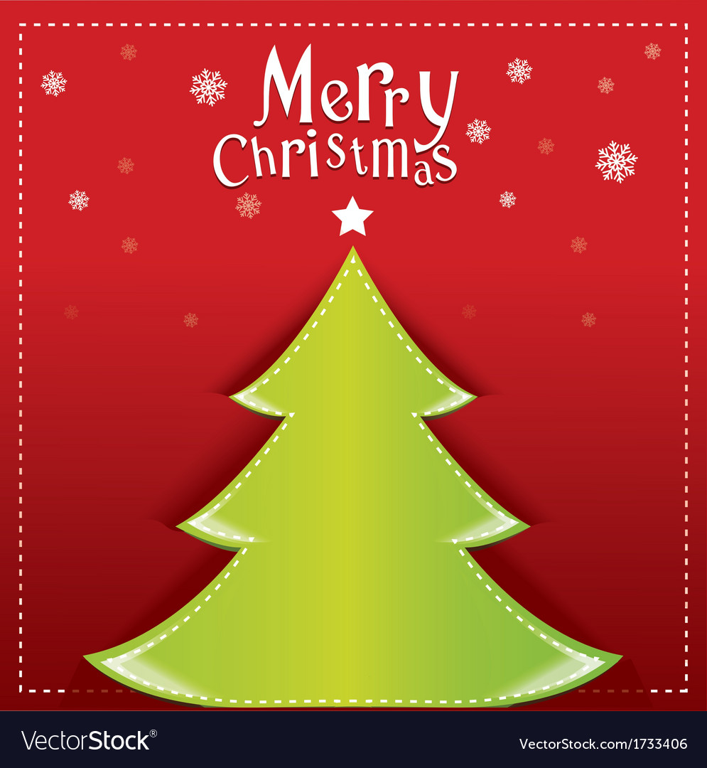 Christmas green design on red background vector image