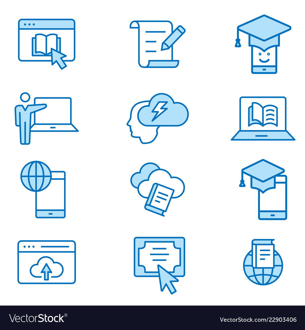 E-learning distance education flat line icon set