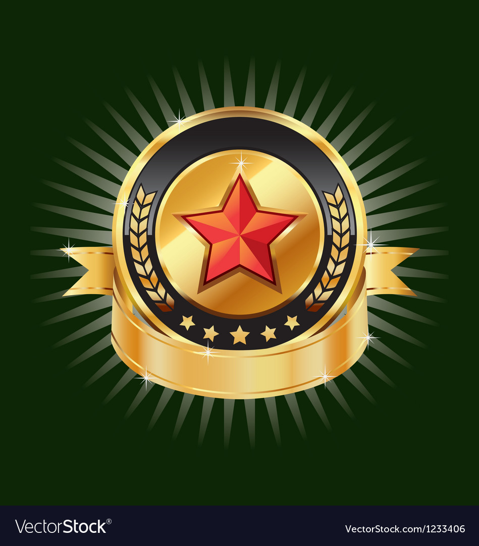 Gold emblem and red star label element