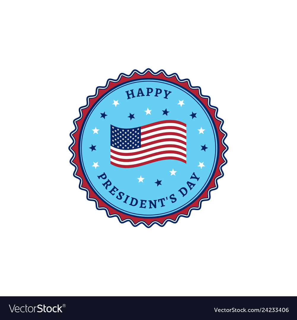 Happy presidents day usa flag colorful stamp icon