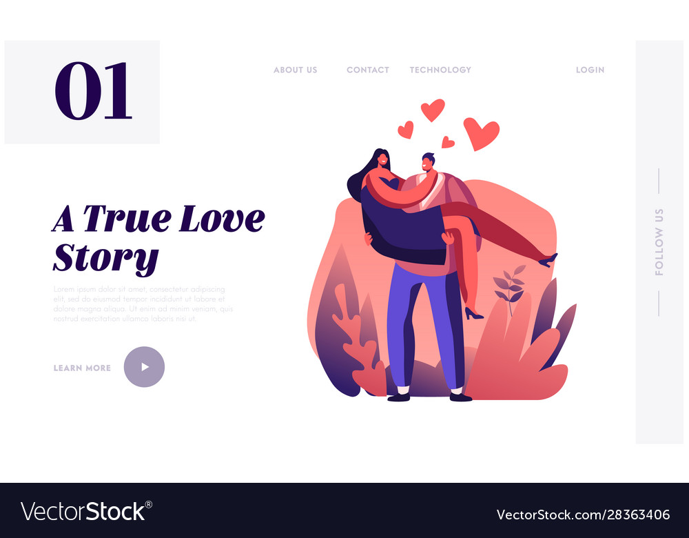 Love feelings romance emotions website landing