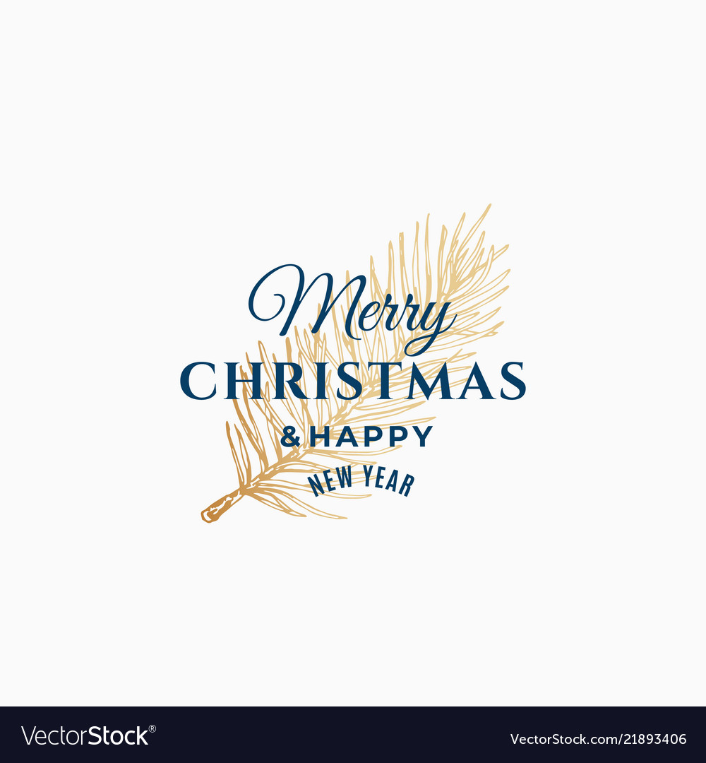 Merry christmas abstract retro label sign