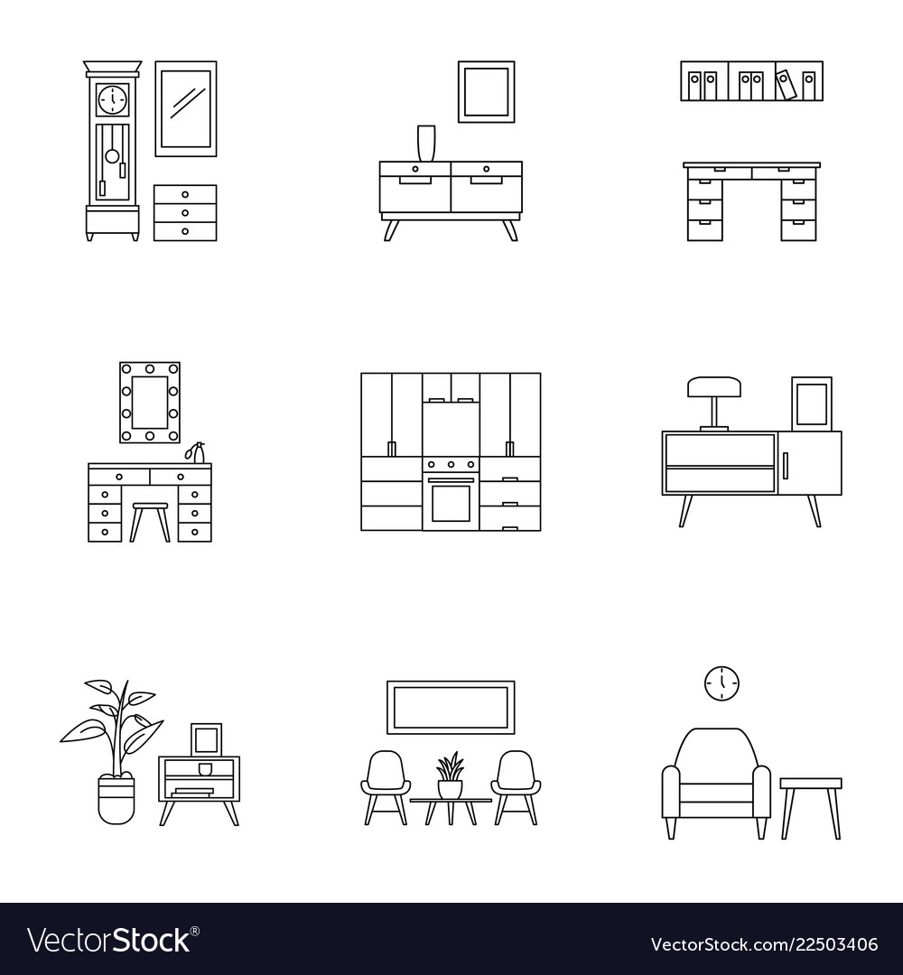 Modern Home Furniture Icon Set Outline Style