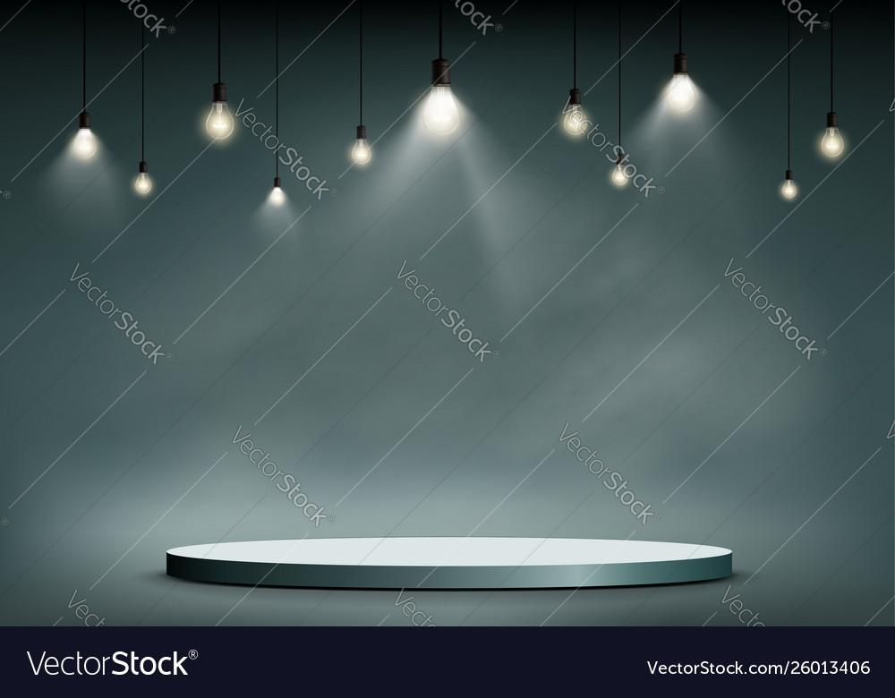 Round stage or podium illuminated light bulbs