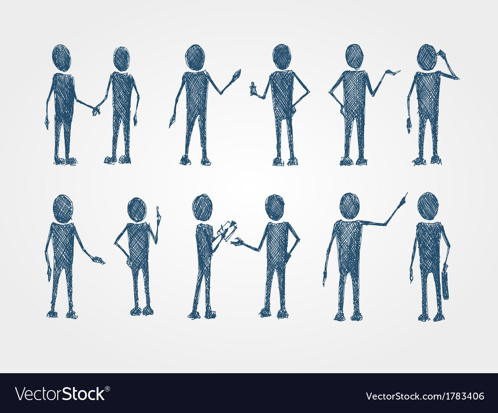 Set of doodle busines people collaboration vector image