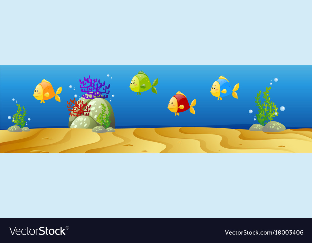 Underwater scene with many fish vector image