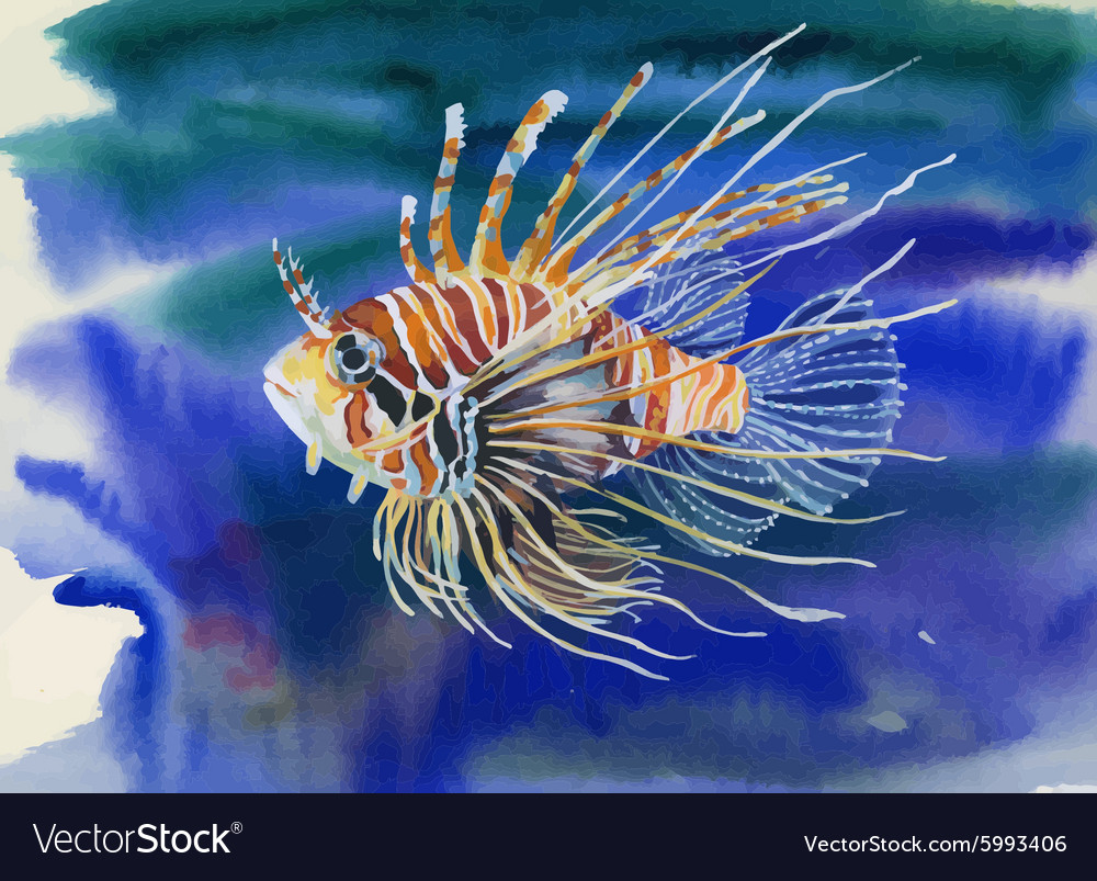 Watercolor Marine life background with Tropical