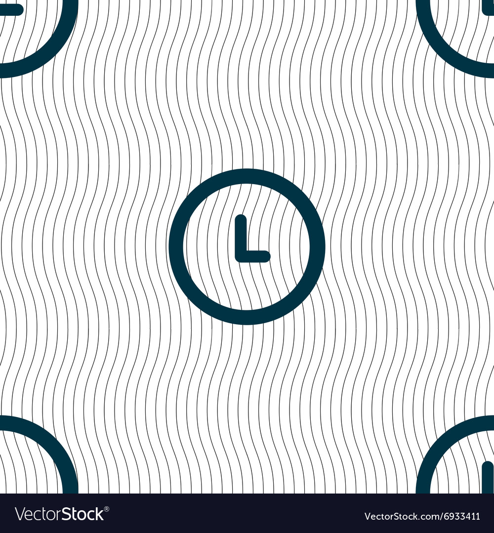 Clock icon sign Seamless pattern with geometric