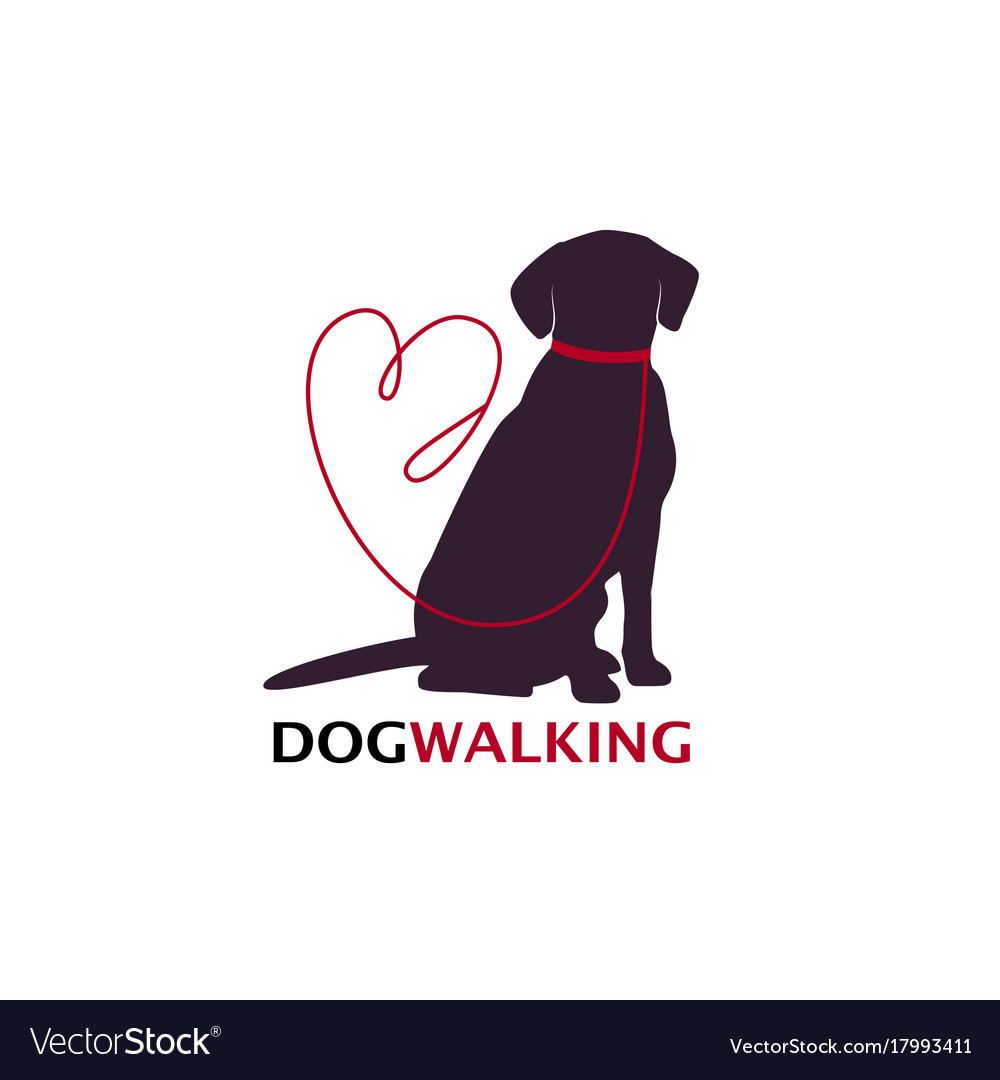 Famous Dog walking logo template with sitting dog Vector Image AZ13