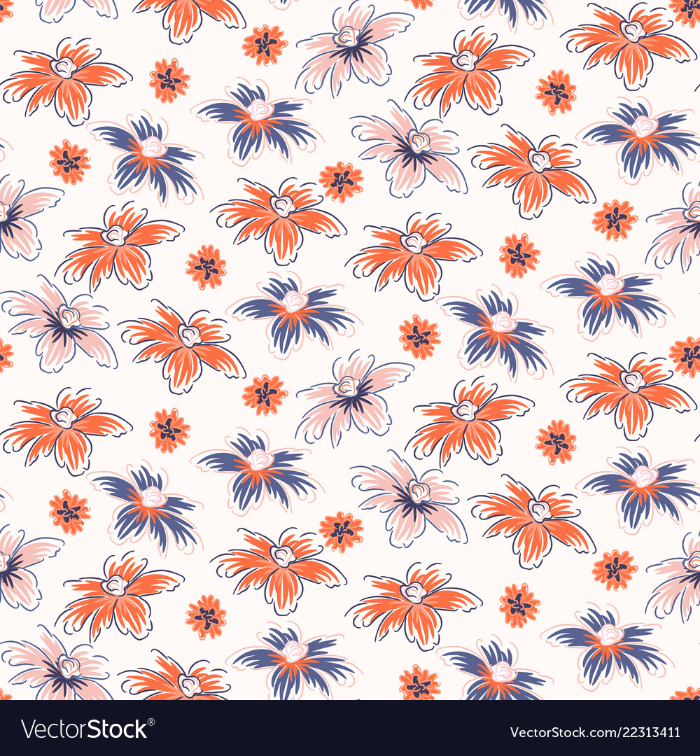 Hand drawn flowers seamless pink red