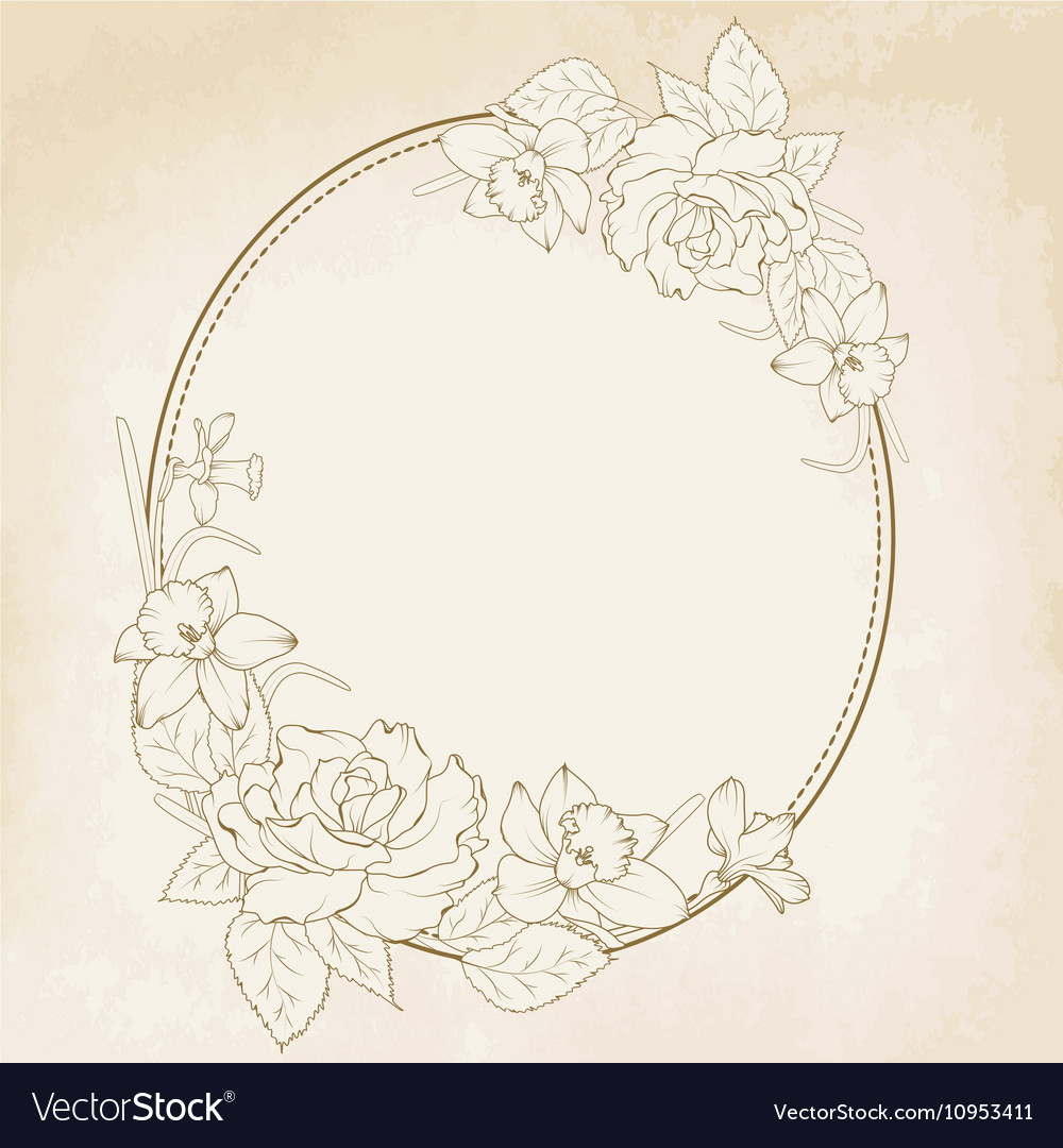 Oval floral frame with rose and narcissus flowers