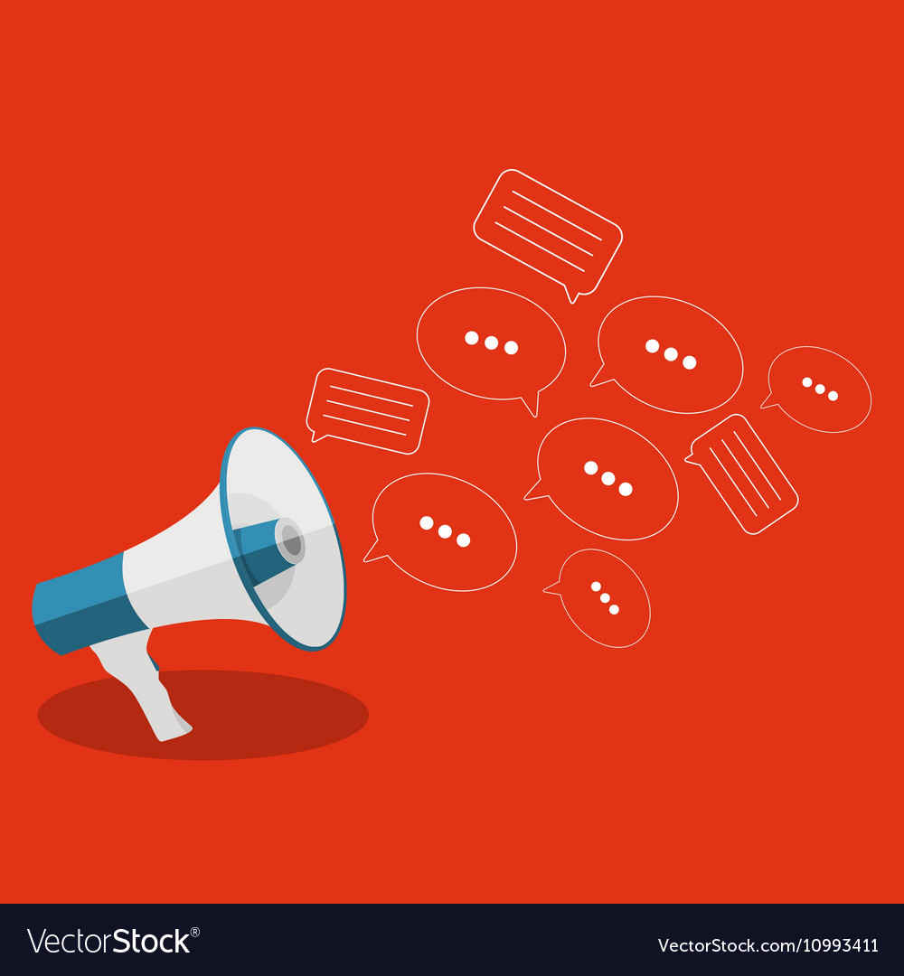 Social Media Flat Concept with Megaphone and