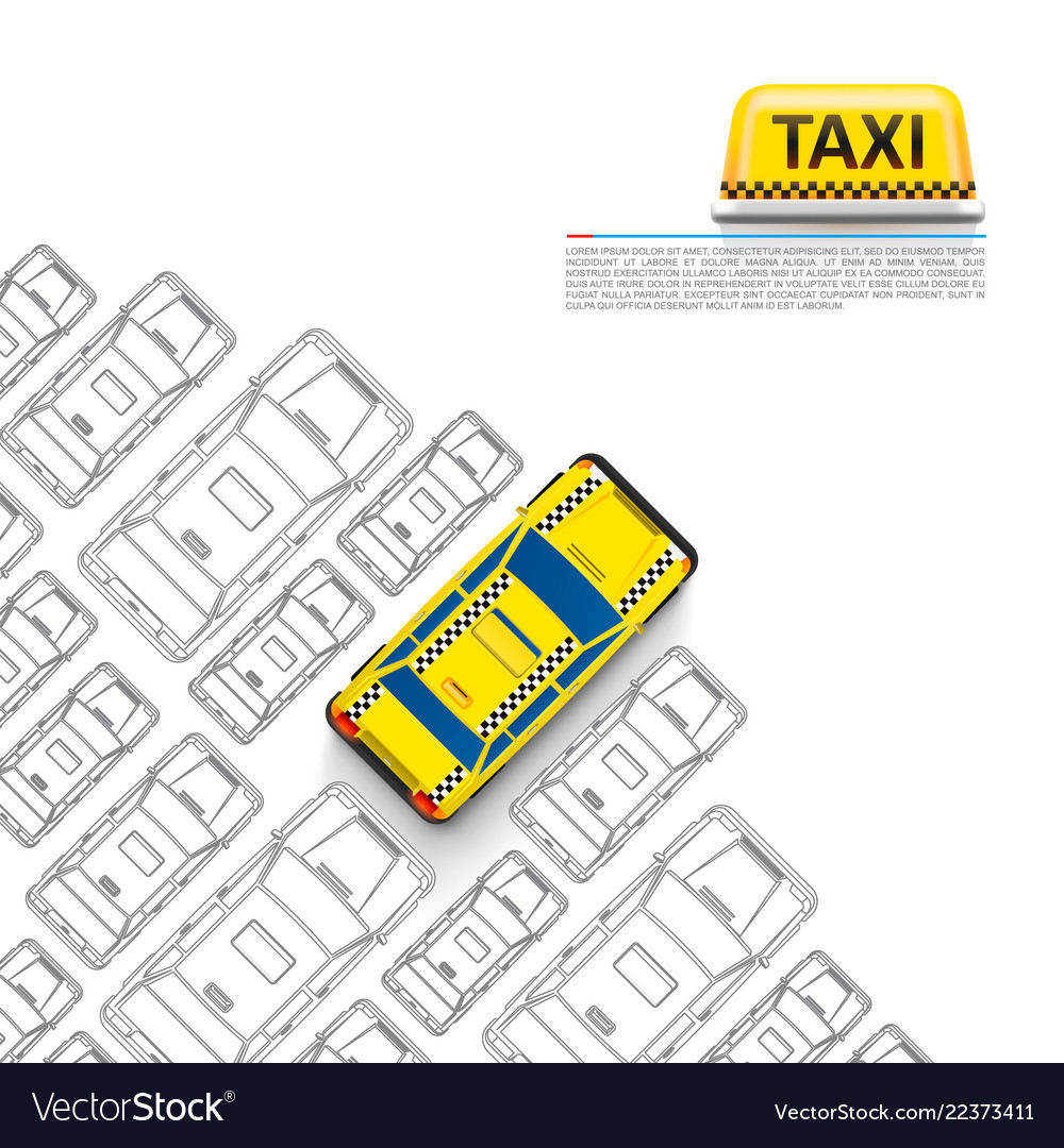 Taxi car signboard on the white background