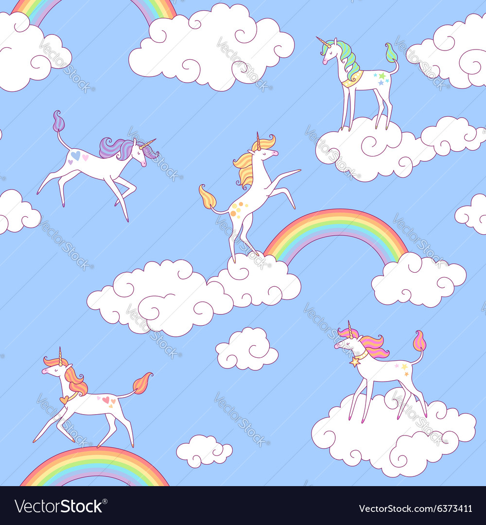 Unicorns pattern clouds