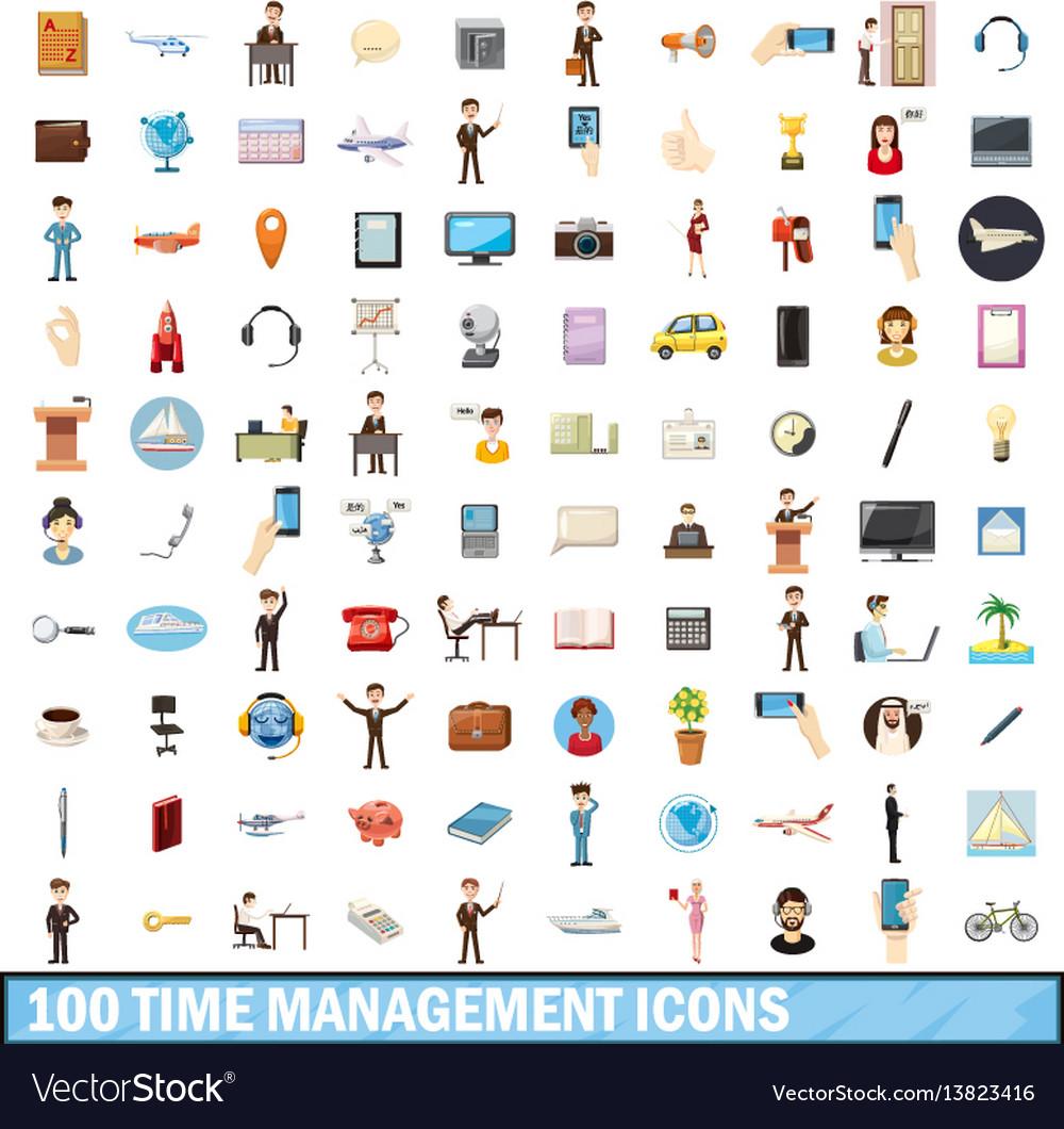 100 time management icons set cartoon style