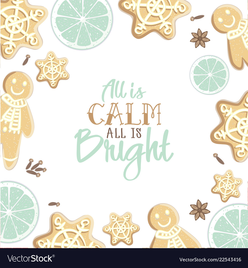 All is calm all is bright holiday greeting card