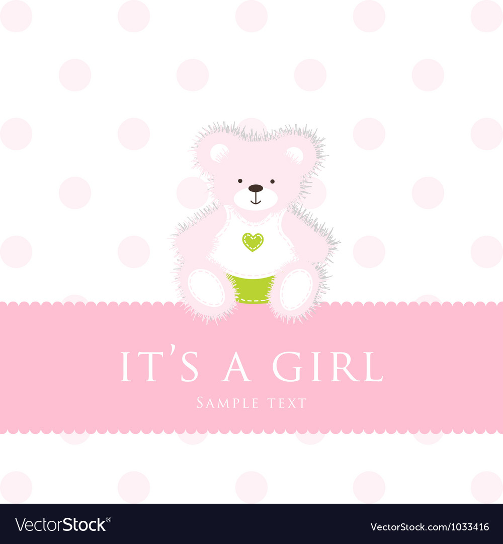 Baby Girl Teddy Card vector image