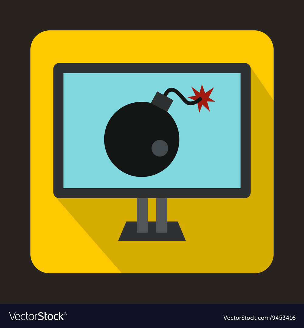 Bomb on computer monitor icon flat style