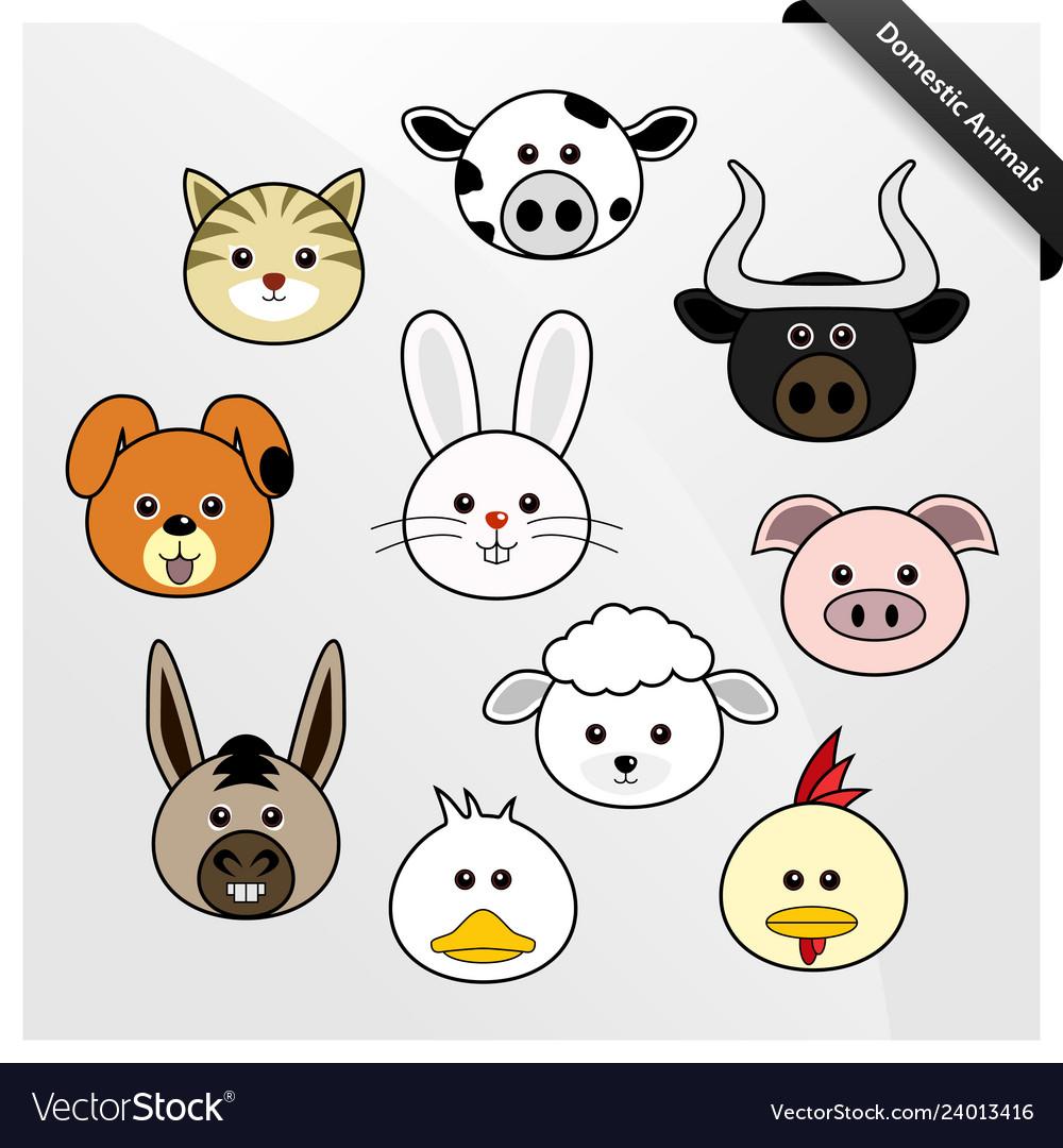 Domestic animal cute cartoon a set of cute