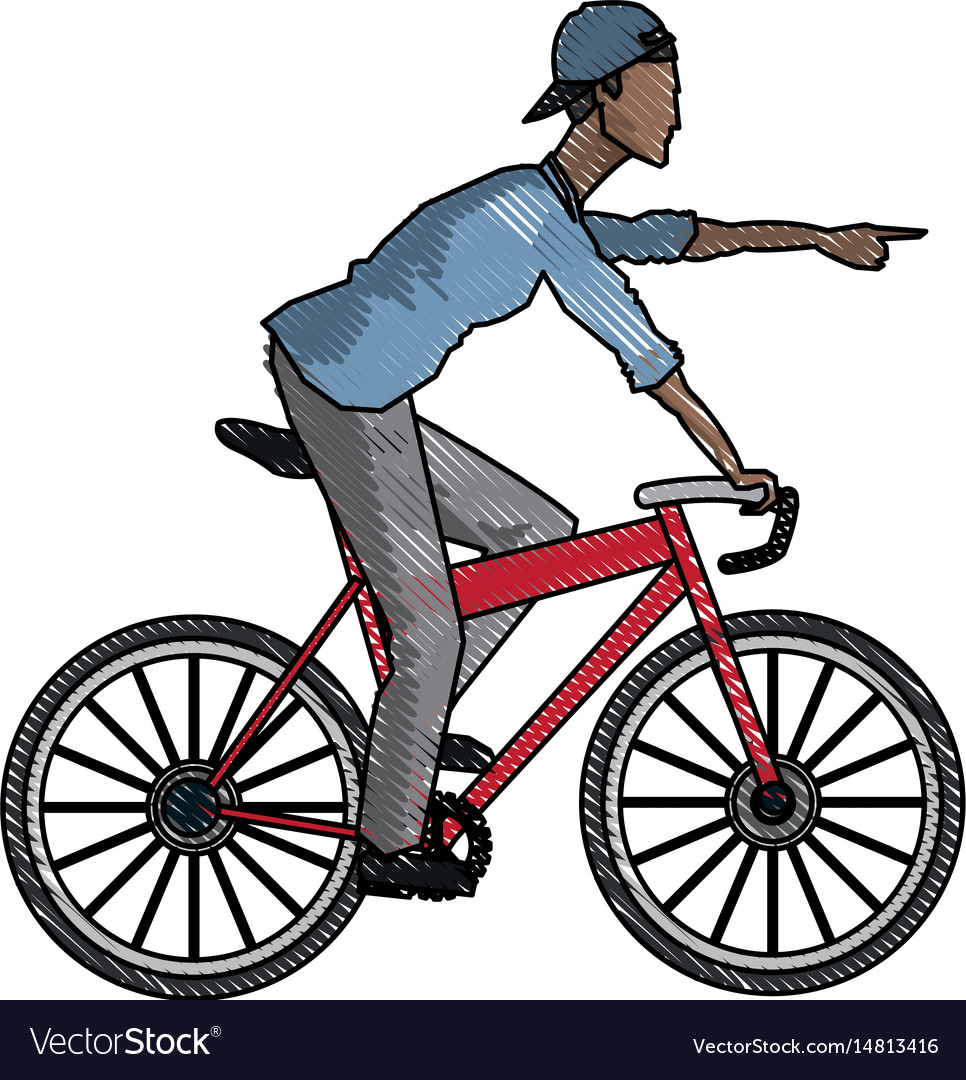 Drawing young afro guy rider bicycle pointing hand