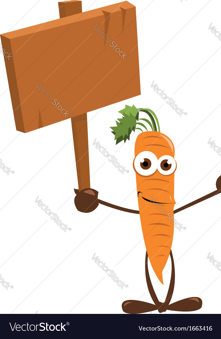 Funny Carrot holding a Sign
