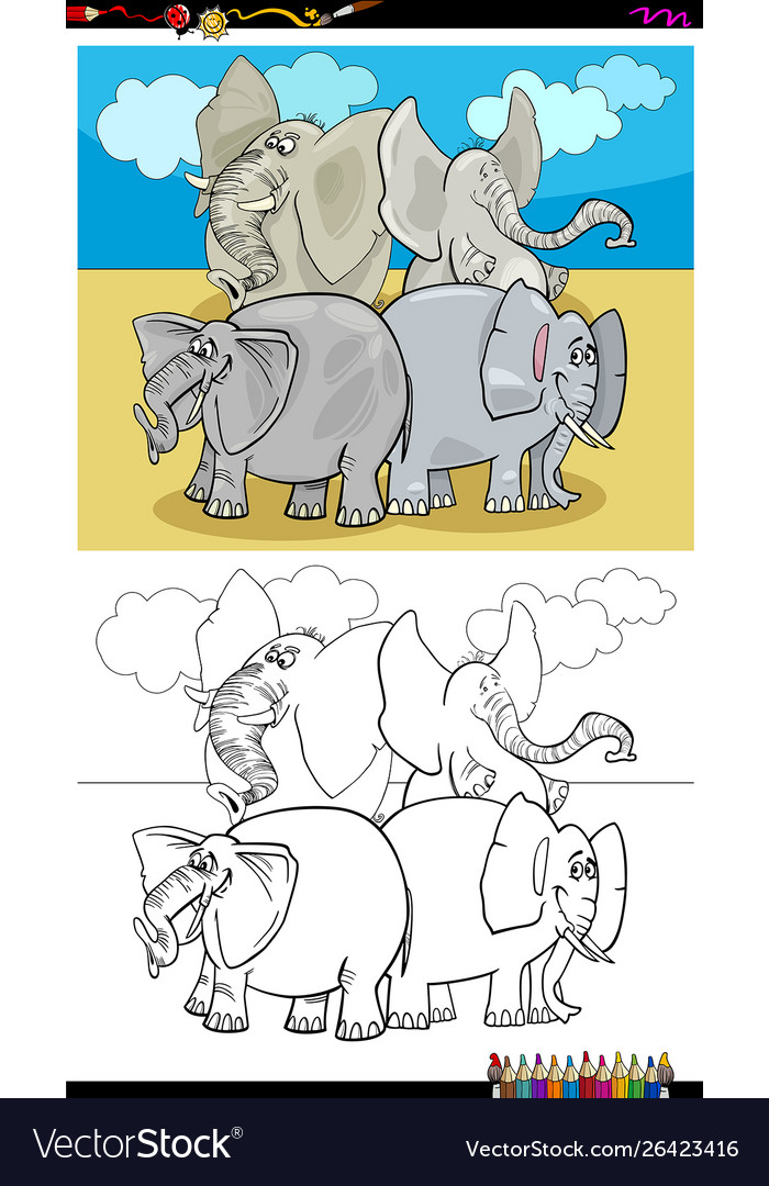 Happy elephants characters group color book