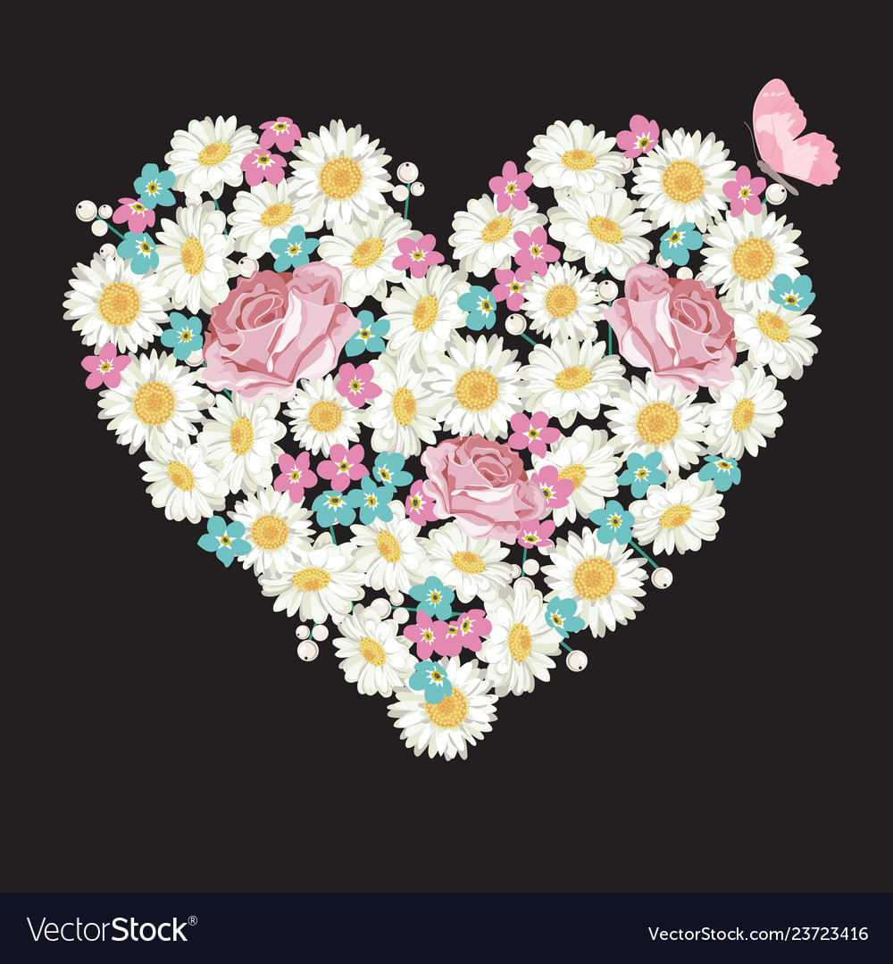 Heart shape roses chamomile and forget-me-not