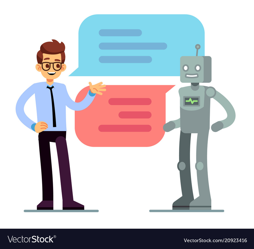 Man chatting and asking for help bot chatbot
