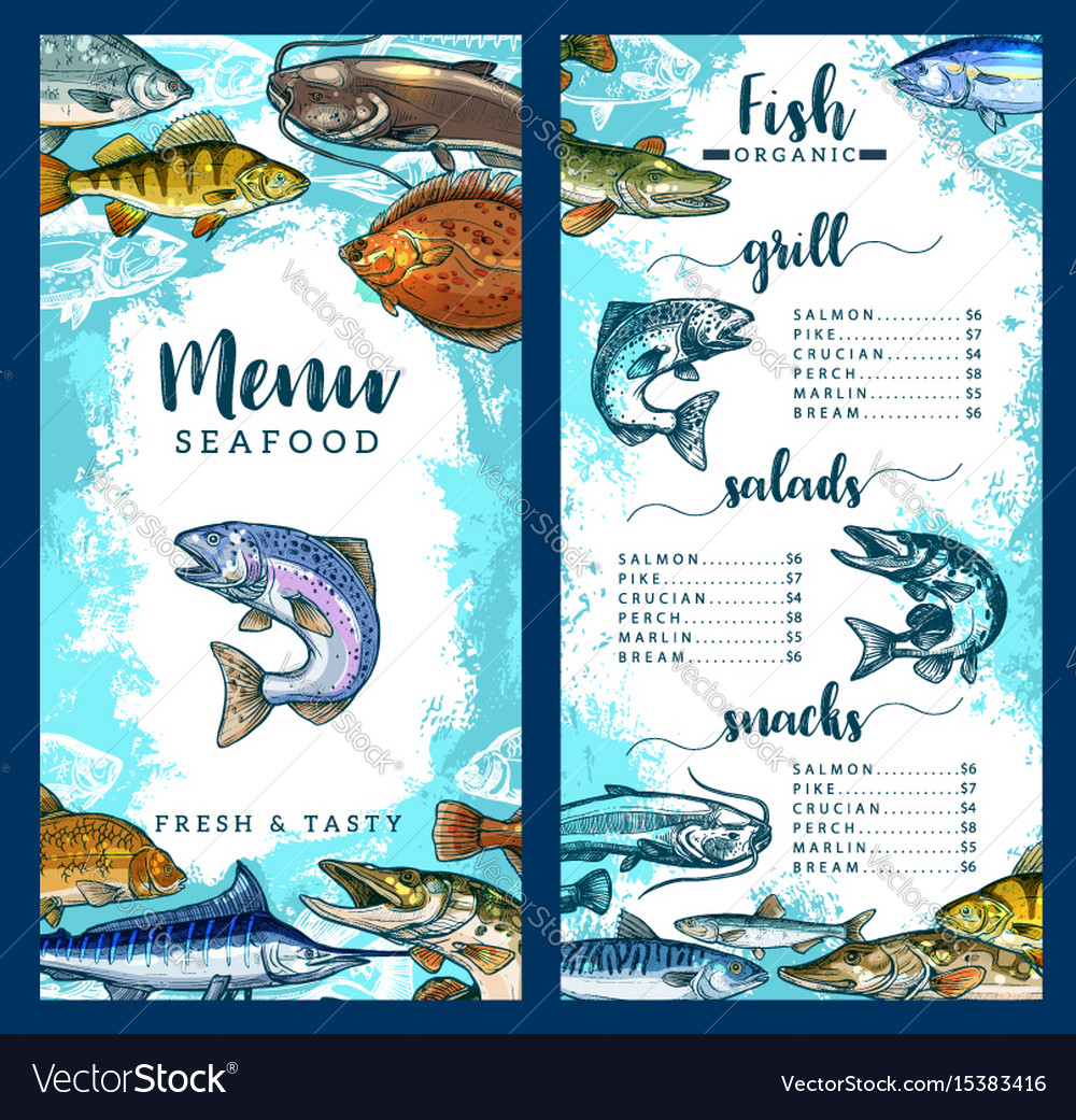 Menu For Seafood Or Fish Restaurant Royalty Free Vector