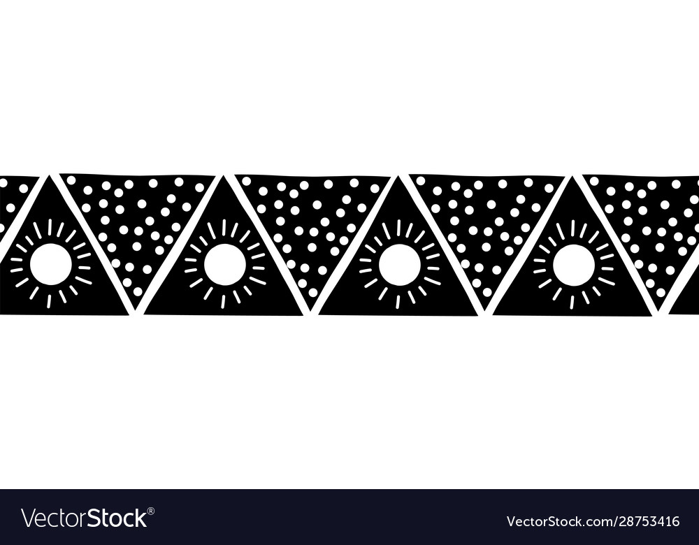 Monochrome seamless border triangles boho