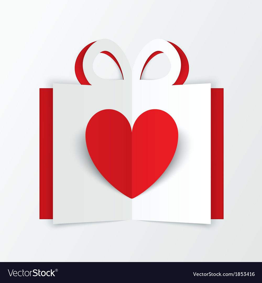 Red paper heart in gift box valentines day card