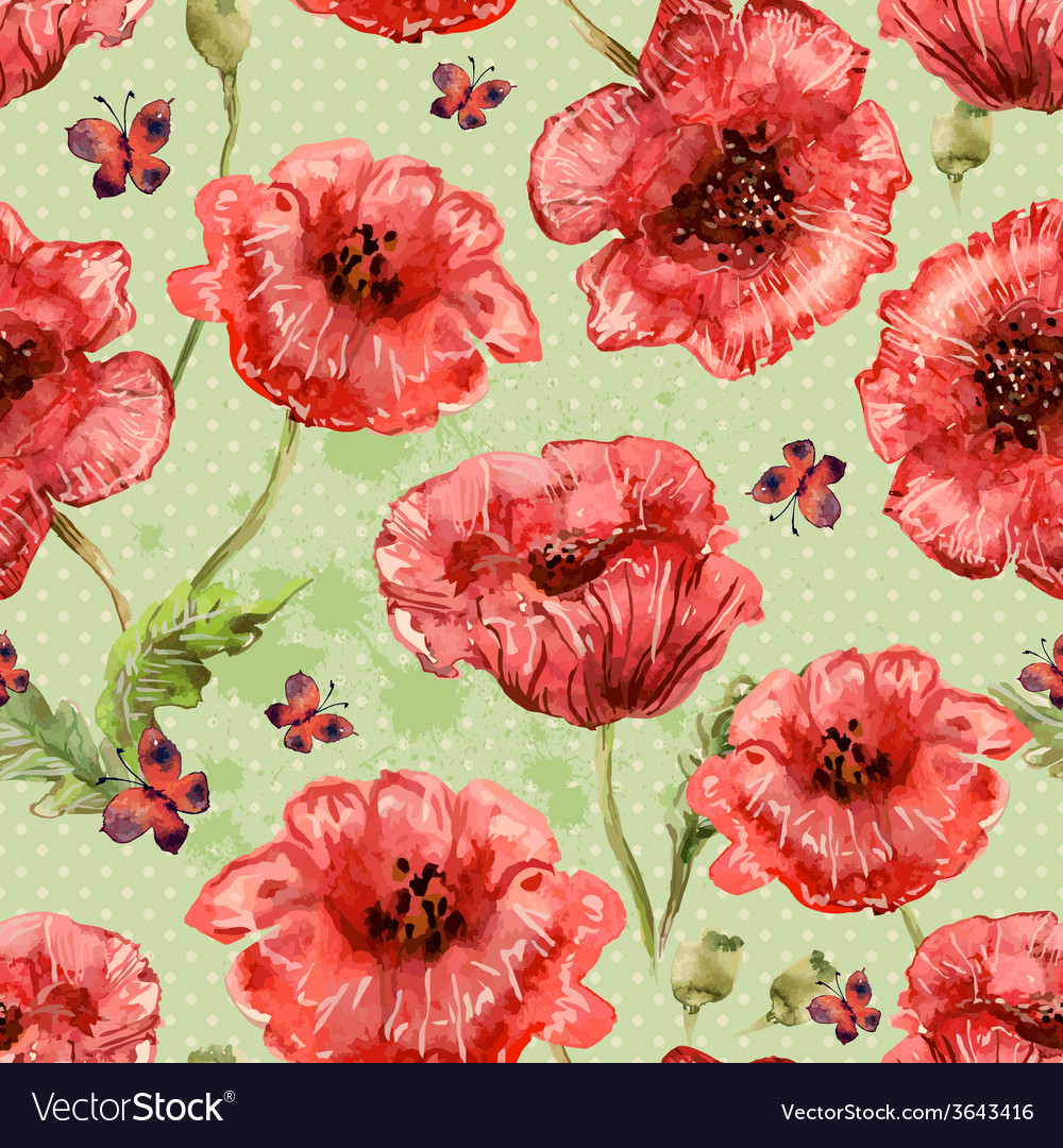 Seamless texture with watercolor painting of