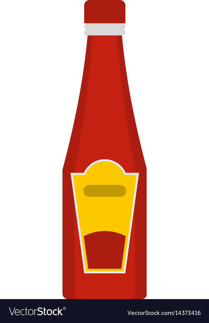 Traditional tomato ketchup bottle icon isolated vector image