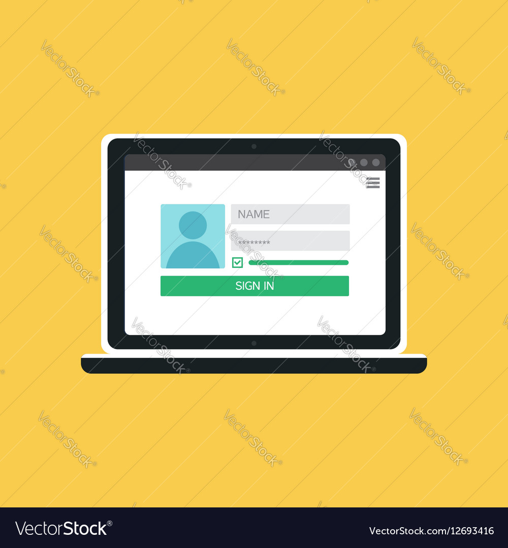 Web Template of Notebook Login Form Royalty Free Vector