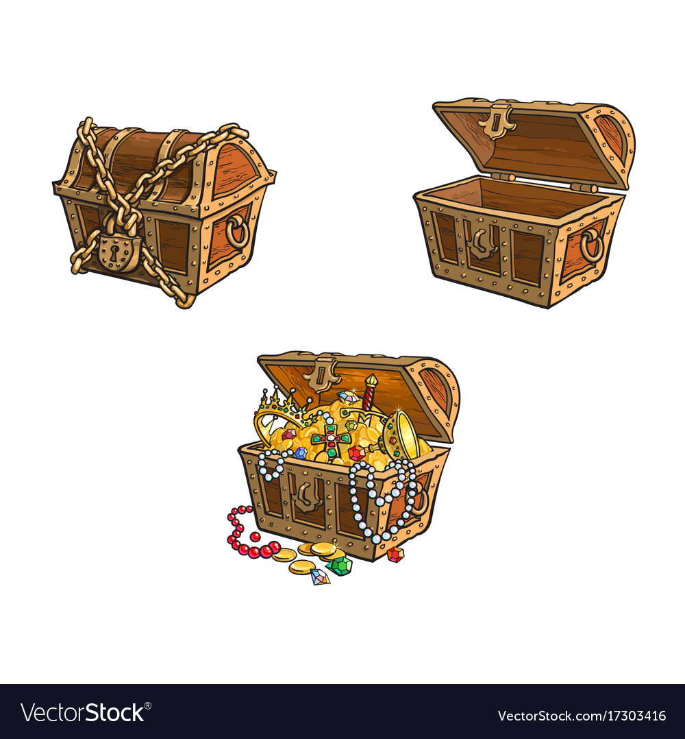 Wooden treasure chest set isolated