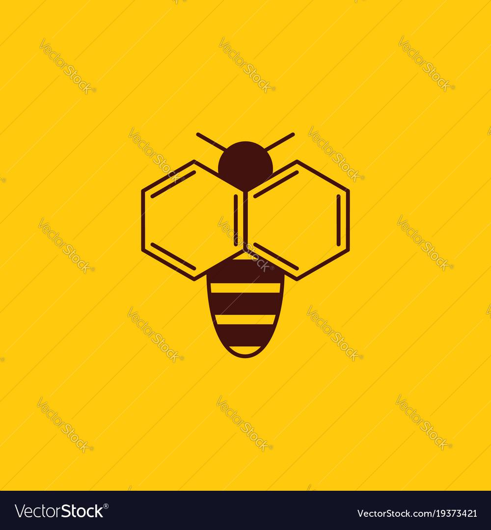 Bee logo on honey background bee logotype vector image