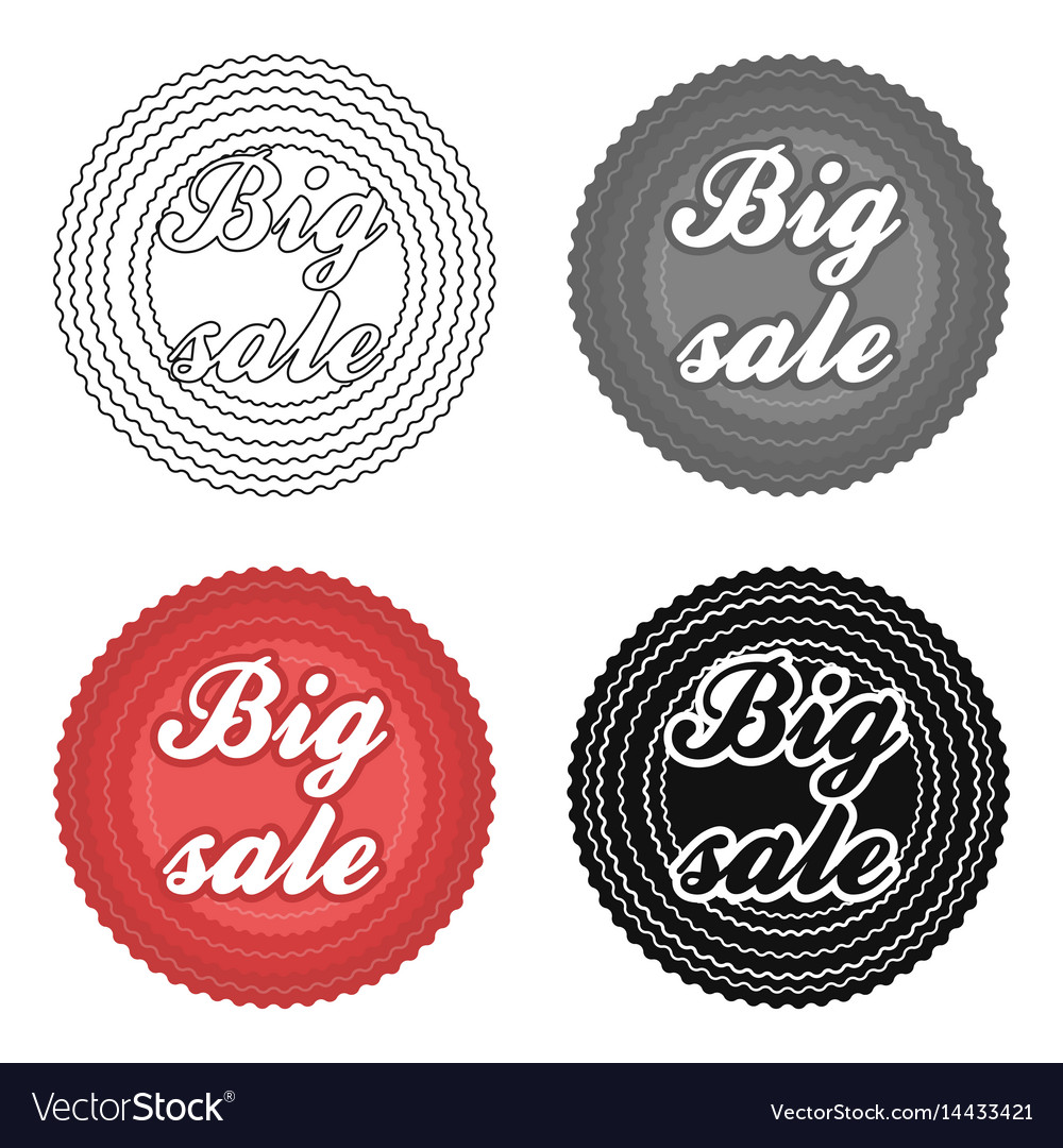 Big sale icon in cartoon style isolated on white